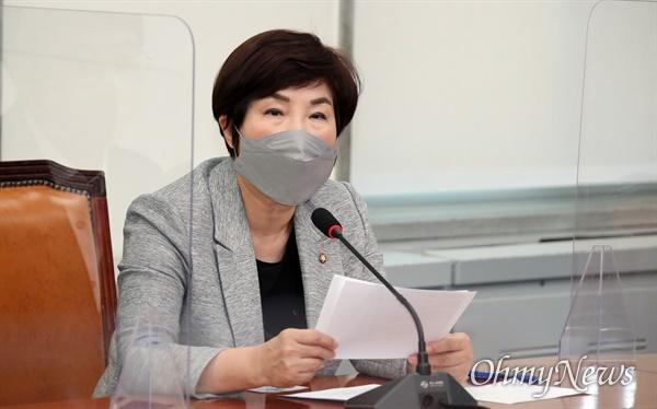 전혜숙 더불어민주당 최고위원이 13일 국회에서 열린 최고위원회의에서 발언하고 있다.