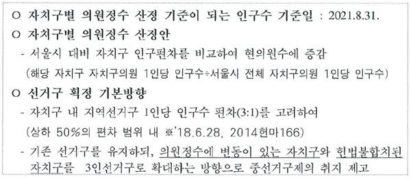 서울특별시자치구의원선거구획정위원회 공문에 포함된 획정위 의결사항