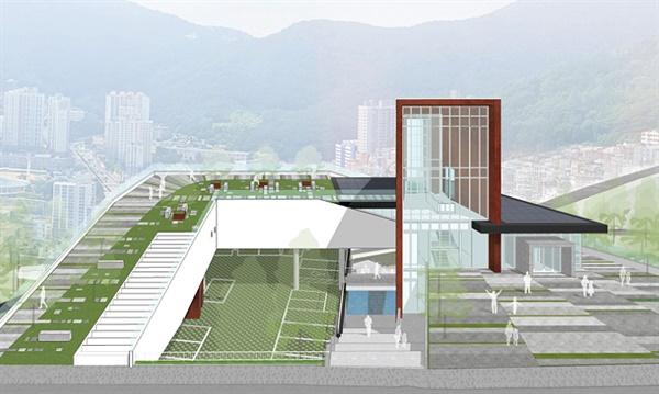 부산민주공원 사료관 부산시 건축설계공모 당선작 '임을 위한 언덕'.