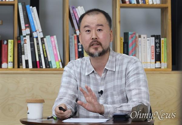 김정식 세상에없는세상 대표가 14일 오후 서울 은평구 서울혁신파크 상상청에서 <오마이뉴스>와 서울혁신센터 공동기획으로 열린 '2021 사회혁신포럼'에 참석해 업사이클링 시장에 대해 이야기를 나누고 있다.