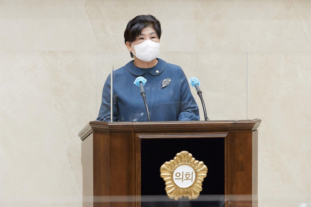 용인시의회 유향금 의원 5분 자유발언 모습