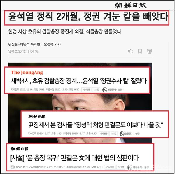지난해 12월 16일과 25일에 나온 윤석열 당시 검찰총장 징계 관련 보도