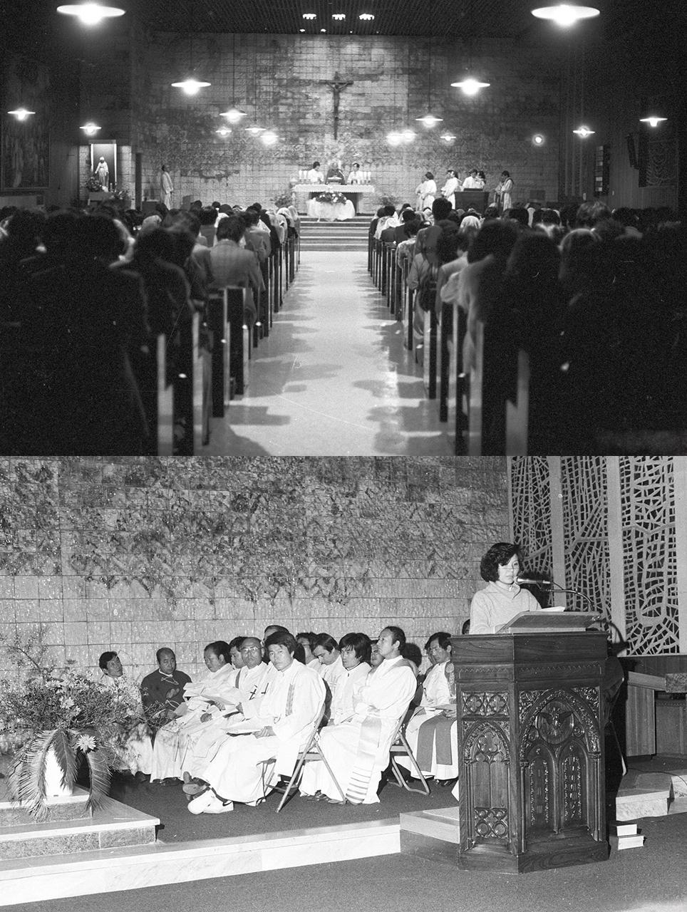 1985년 11월 8일 고문공대위 보고대회가 열린 혜화동 성당에서 열린 미사와 보고대회 전경
